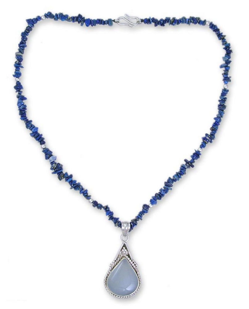 Lapis Lazuli Sterling Silver and Chalcedony Necklace, 'Regal Blue'