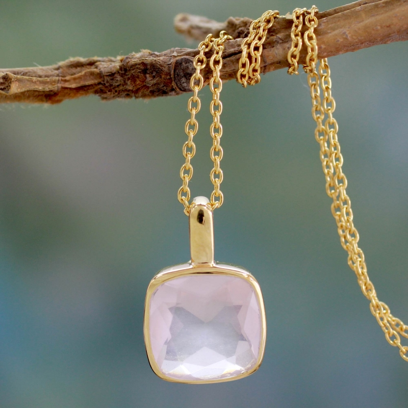 Hand Made Gold Vermeil Faceted Rose Quartz Necklace, 'Modern Charm'