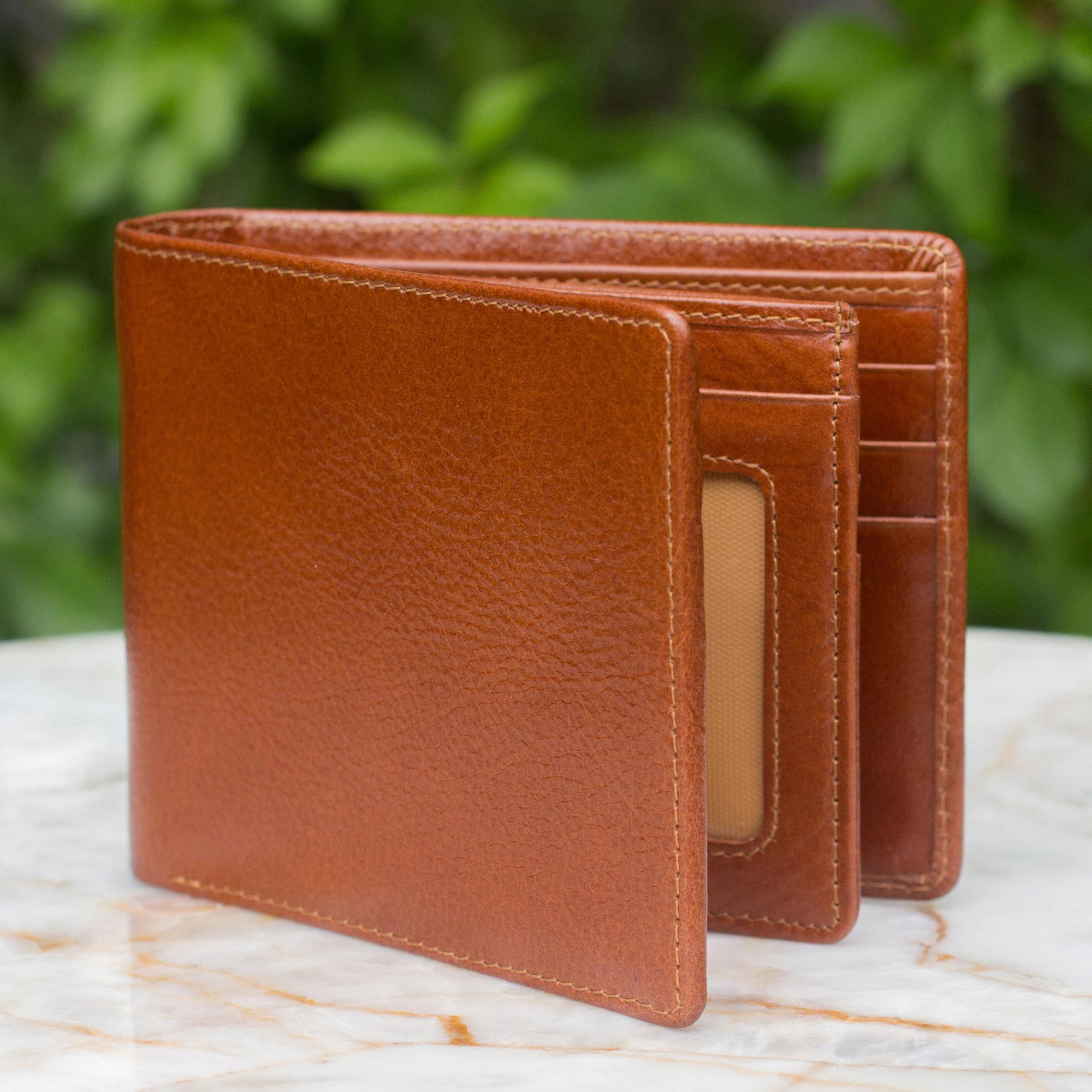Men's leather wallet, 'Brown Minimalist' trifold handcrafted tooled caramel brown leather