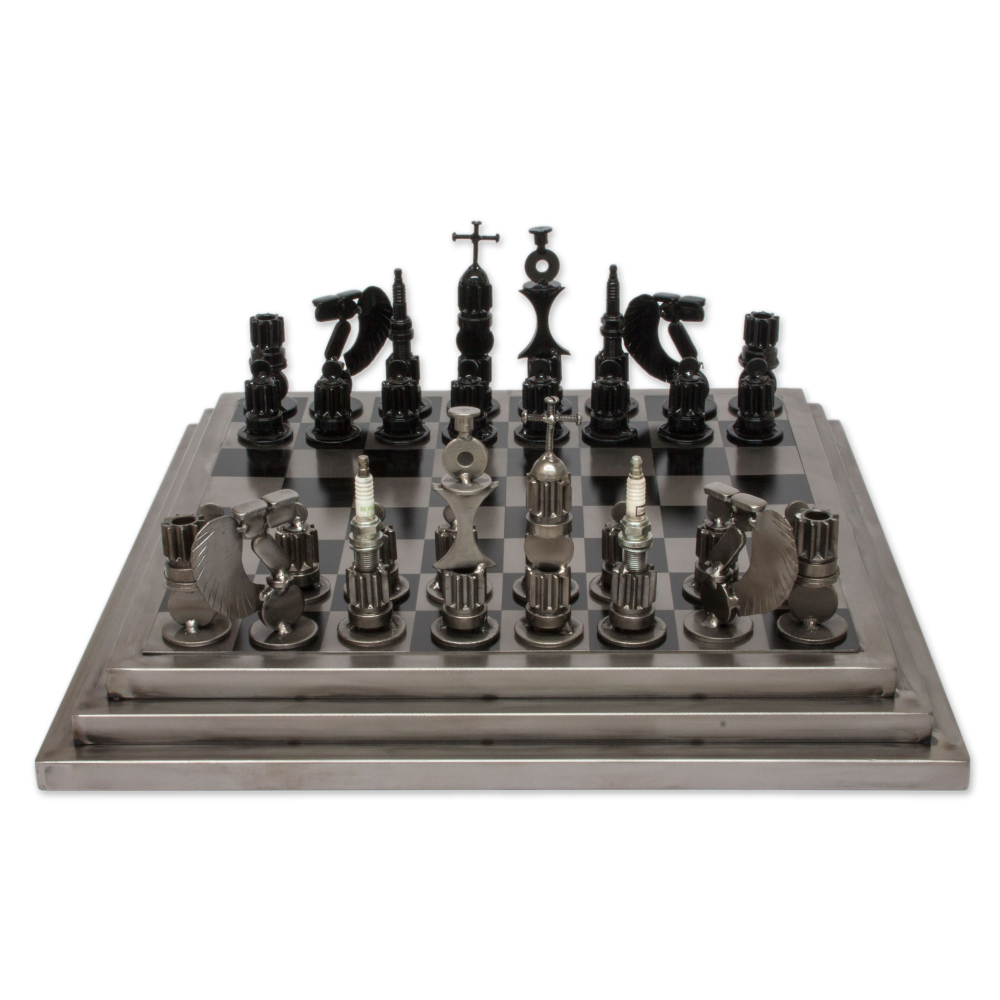 Upcycled auto part chess set, 'Rustic Warriors'