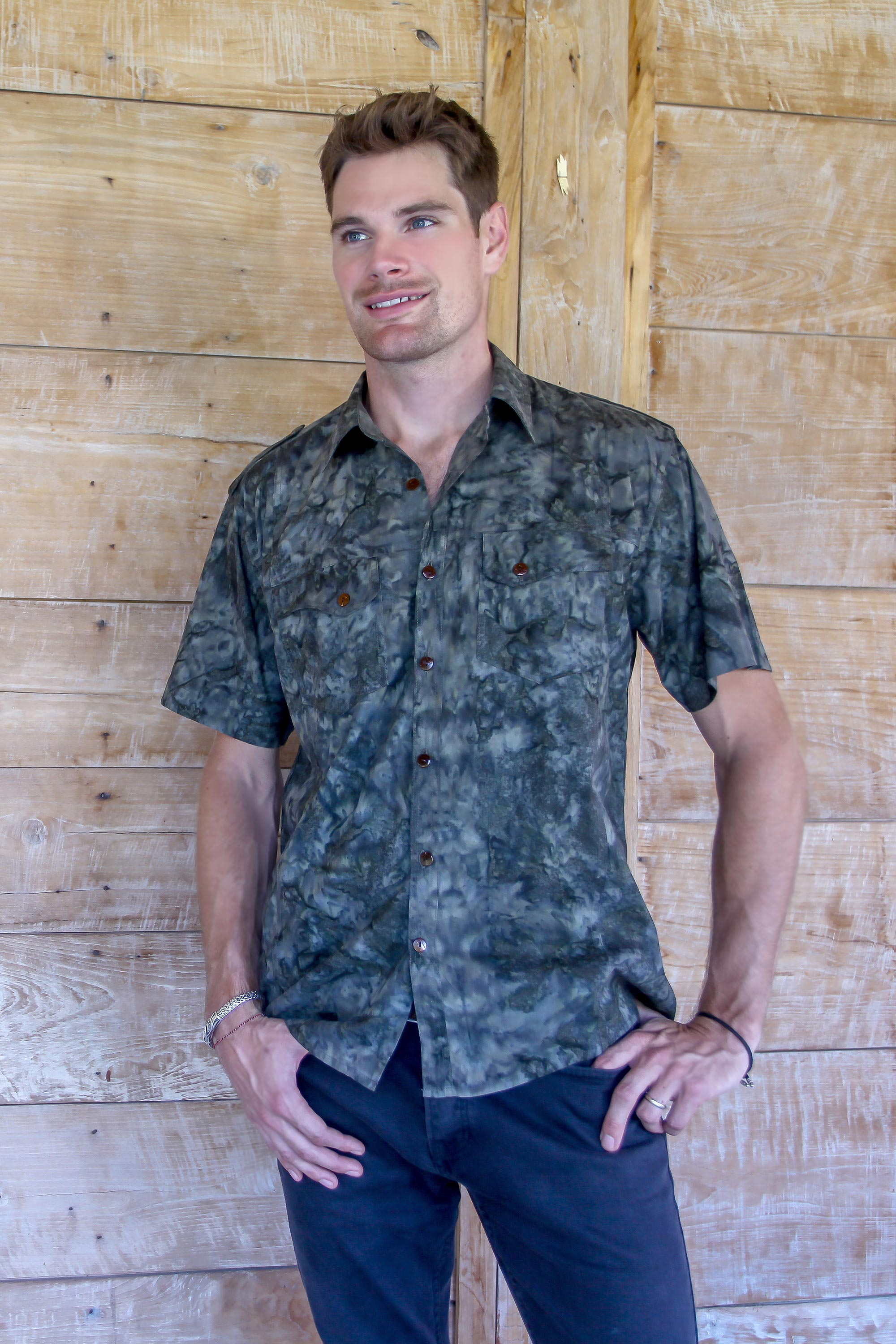 Men's cotton shirt, 'Military Olive' NOVICA Handcrafted clothing