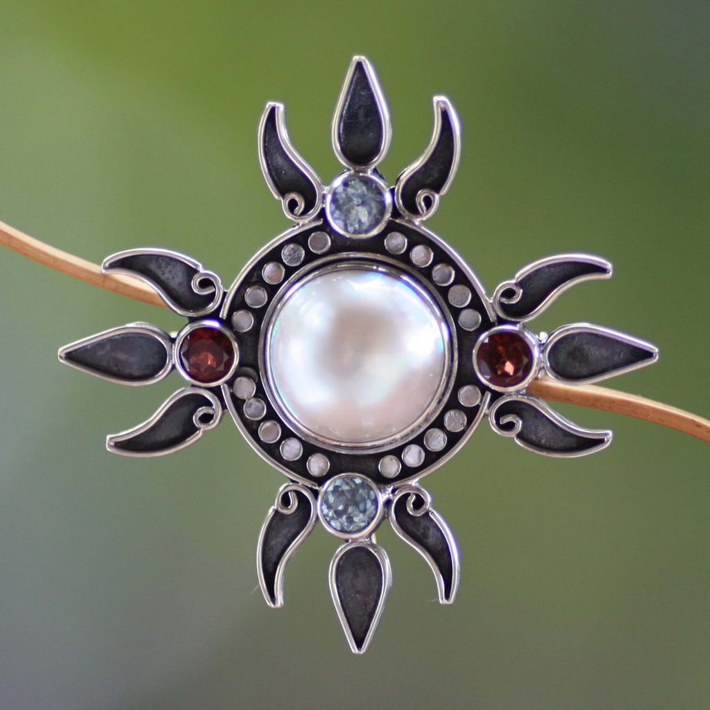 Pearl and topaz brooch pin pendant, 'Four Winds'