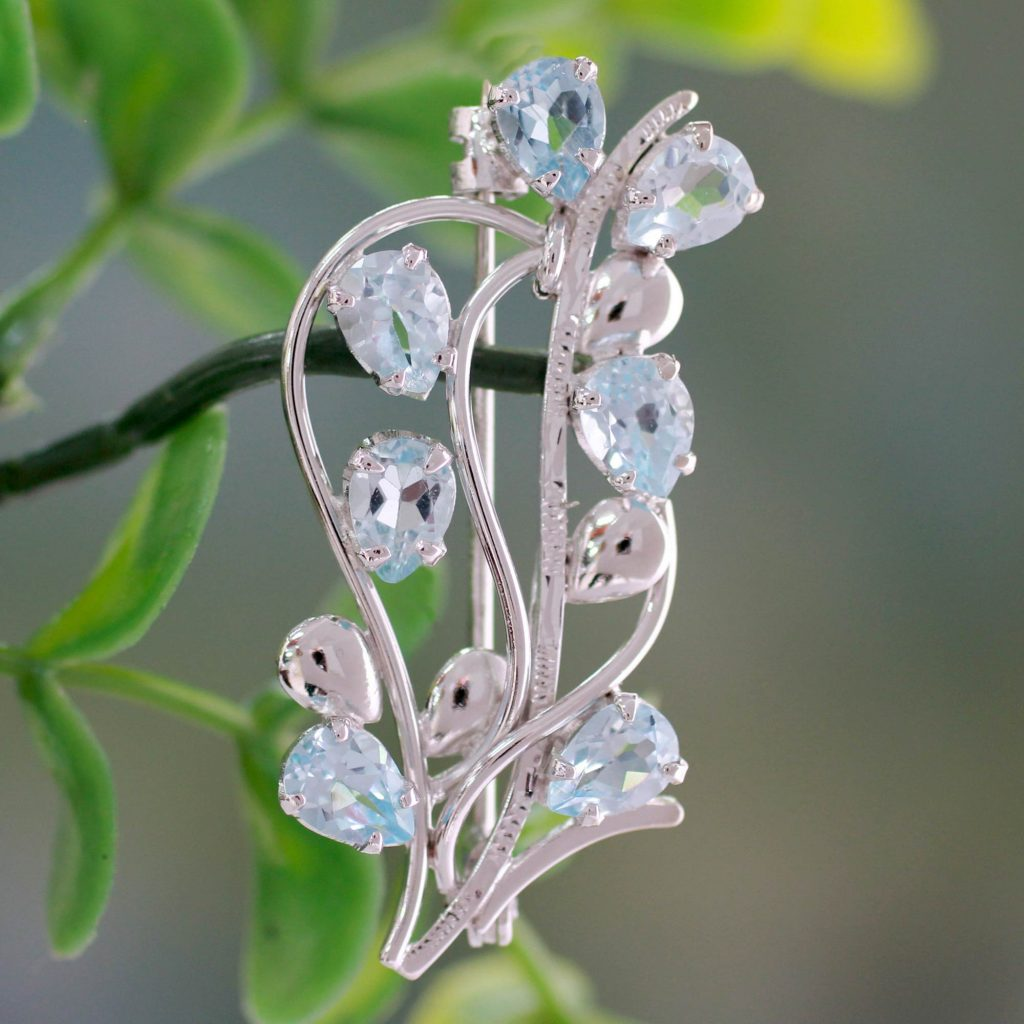 Blue topaz floral brooch pin, 'Sky Bouquet'