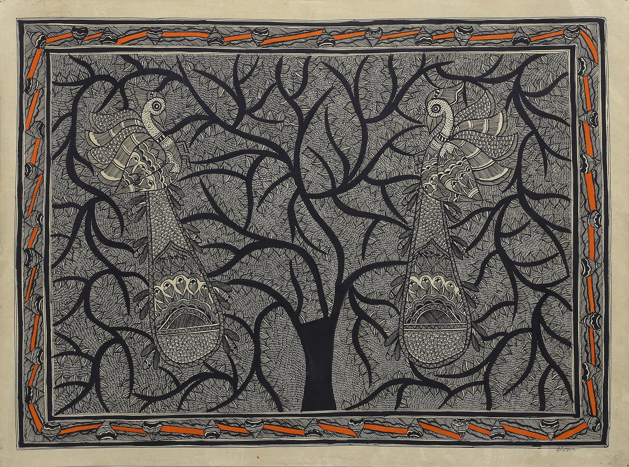 Madhubani Painting of a Tree with Birds in Black and White, 'Peacocks In Love'