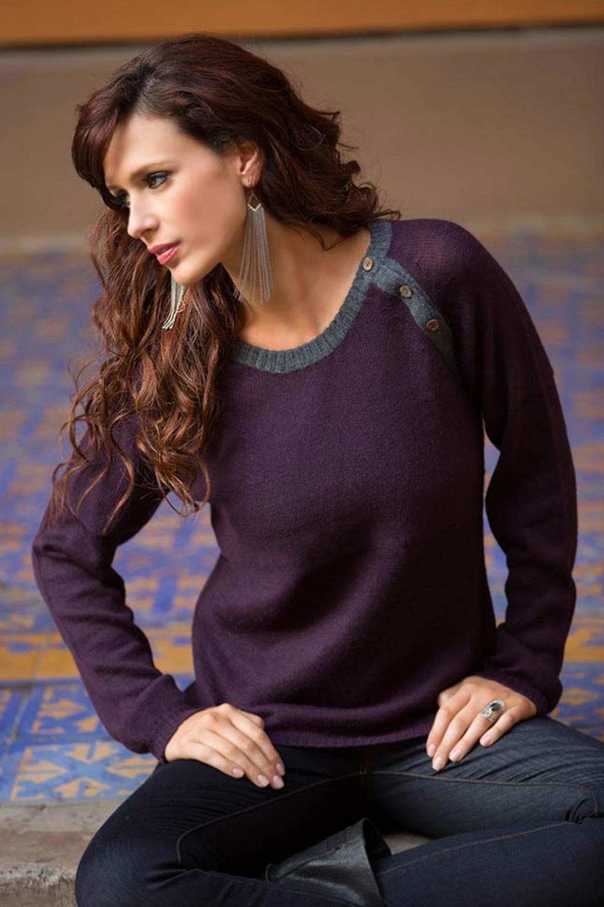 Unique Peruvian Alpaca Wool Pullover Sweater, 'Andean Purple' Artisan hand woven Wool Sweater Care