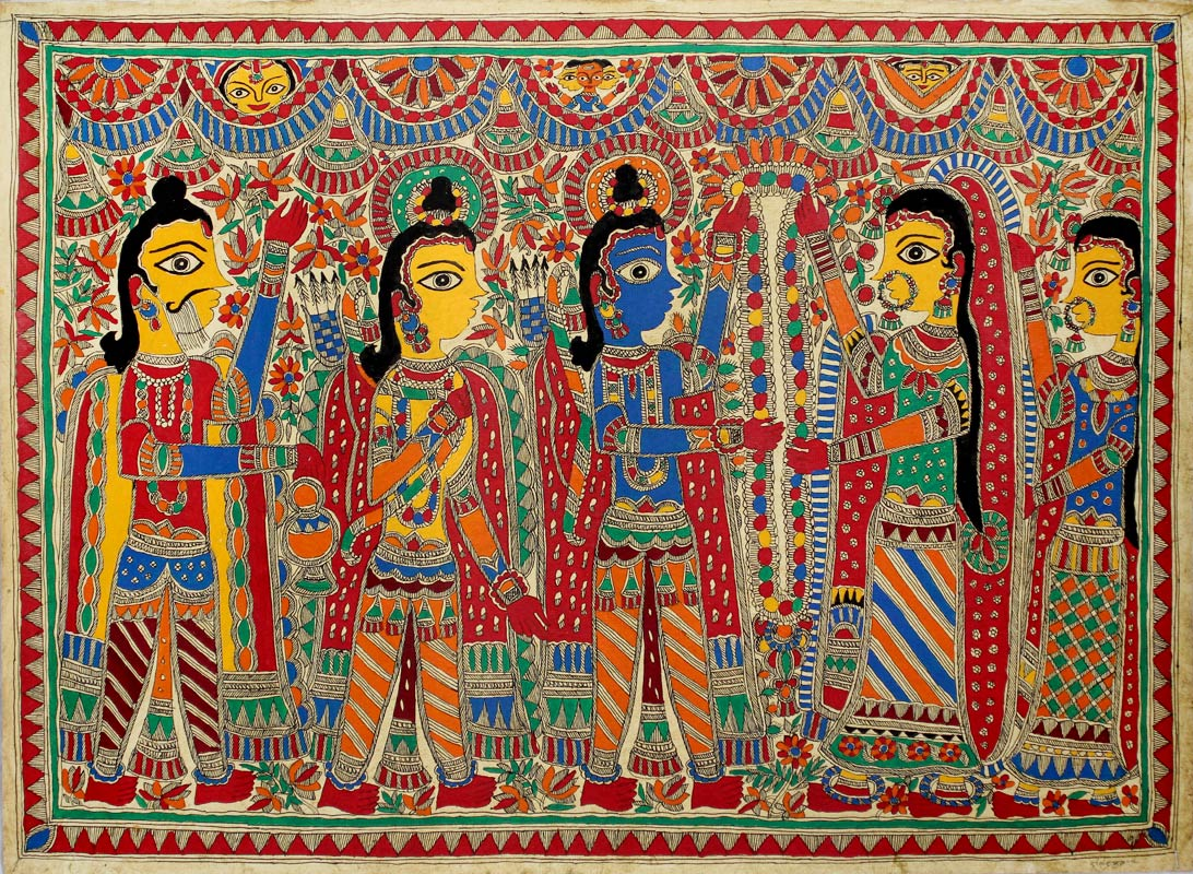 Madhubani painting, Rama and Sita Wed Ramayana Hindu Marriage