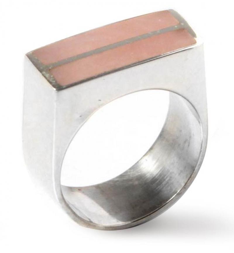 Rose quartz cocktail ring, 'Symmetry' sterling silver cocktail ring rose quartz jewelry
