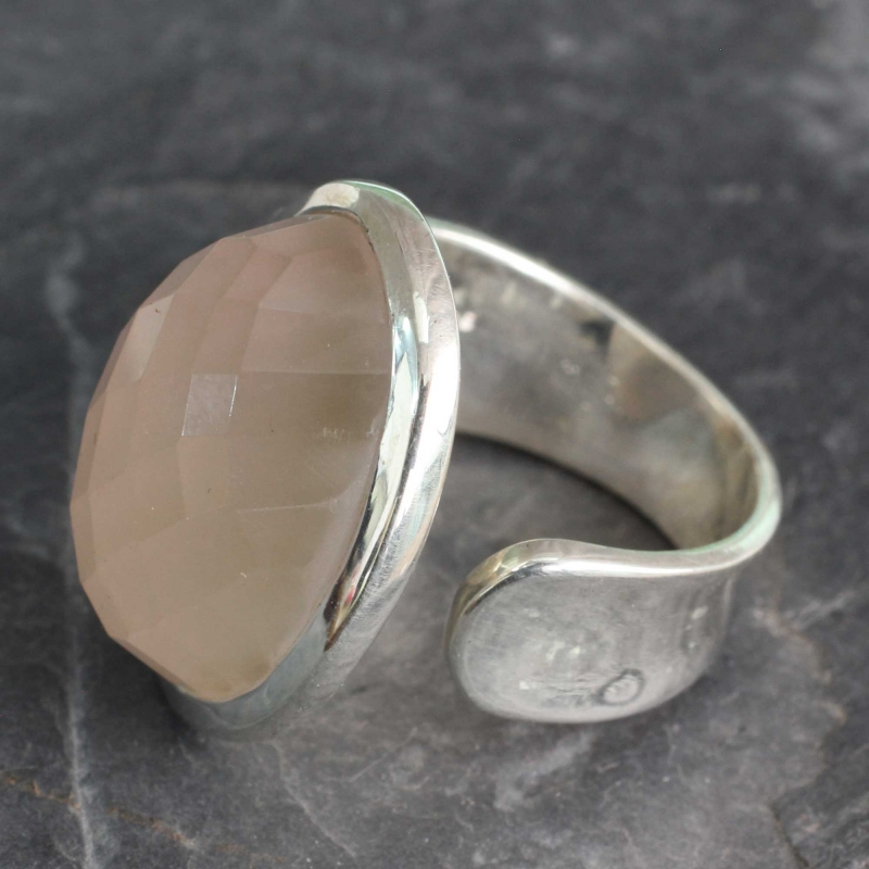 Statement Jewelry Artisan Crafted Rose Quartz Wrap Ring, 'Jaipur Opulence' Rose quartz jewelry sterling silver cocktail ring
