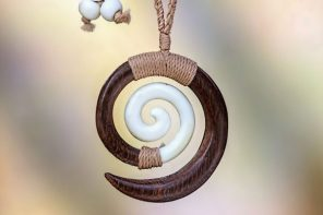 Hand Carved Wood and Bone Macrame Necklace, 'Hypnotic Borneo'