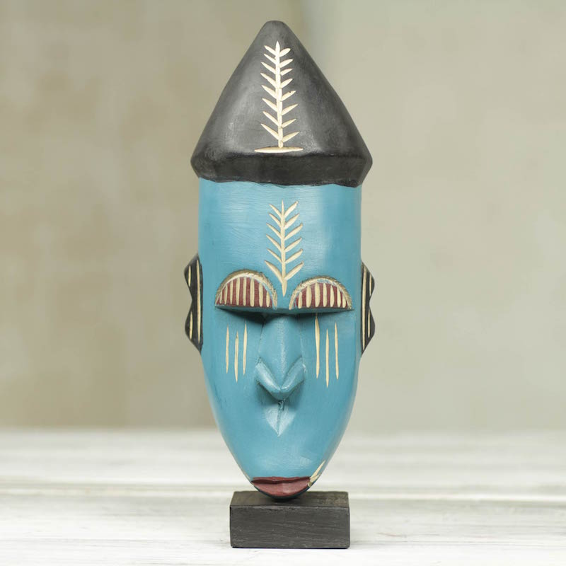 Handmade Wood African Warrior Mask Sculpture, 'Asafo' wall art right sculpture for your home