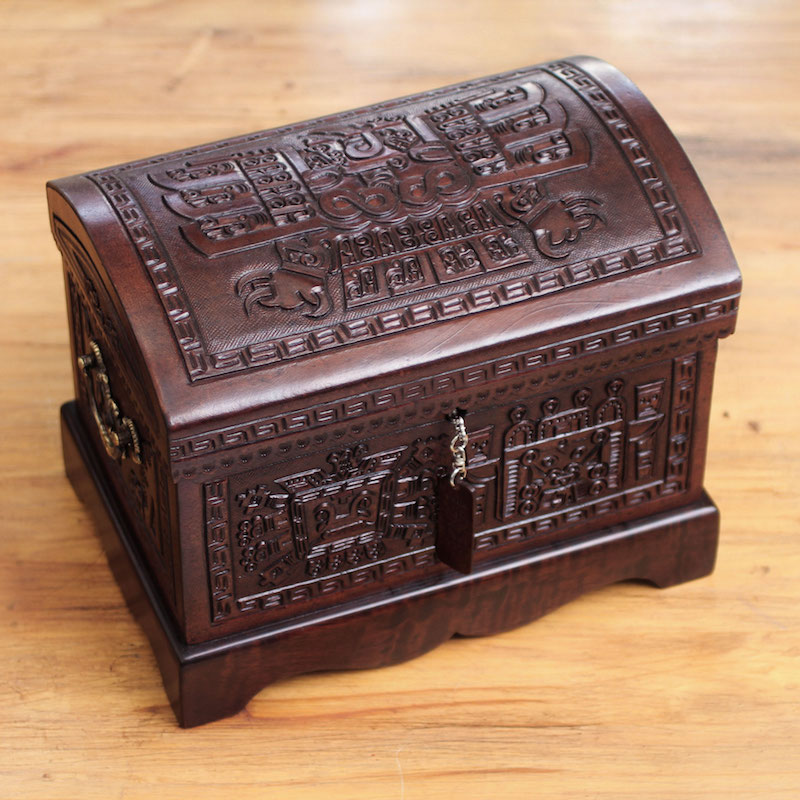 Colonial Tooled Leather Jewelry Box, 'Inca Domain' Unique Mother's Day Gifts Handmade