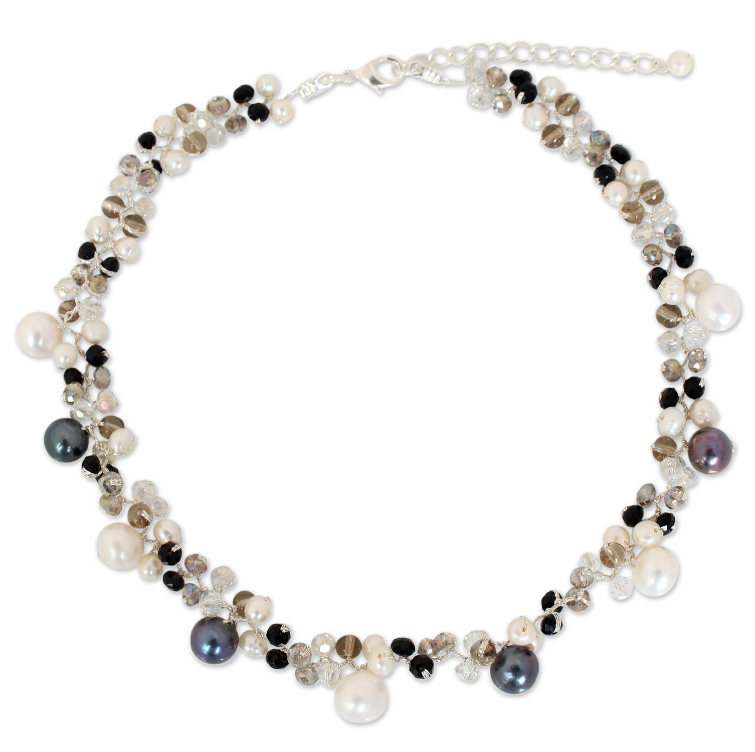 pearls, choker necklace, glass beads silk cord Pearl Choker Necklace, 'A Spark of Romance' gifts unique mother's day gifts