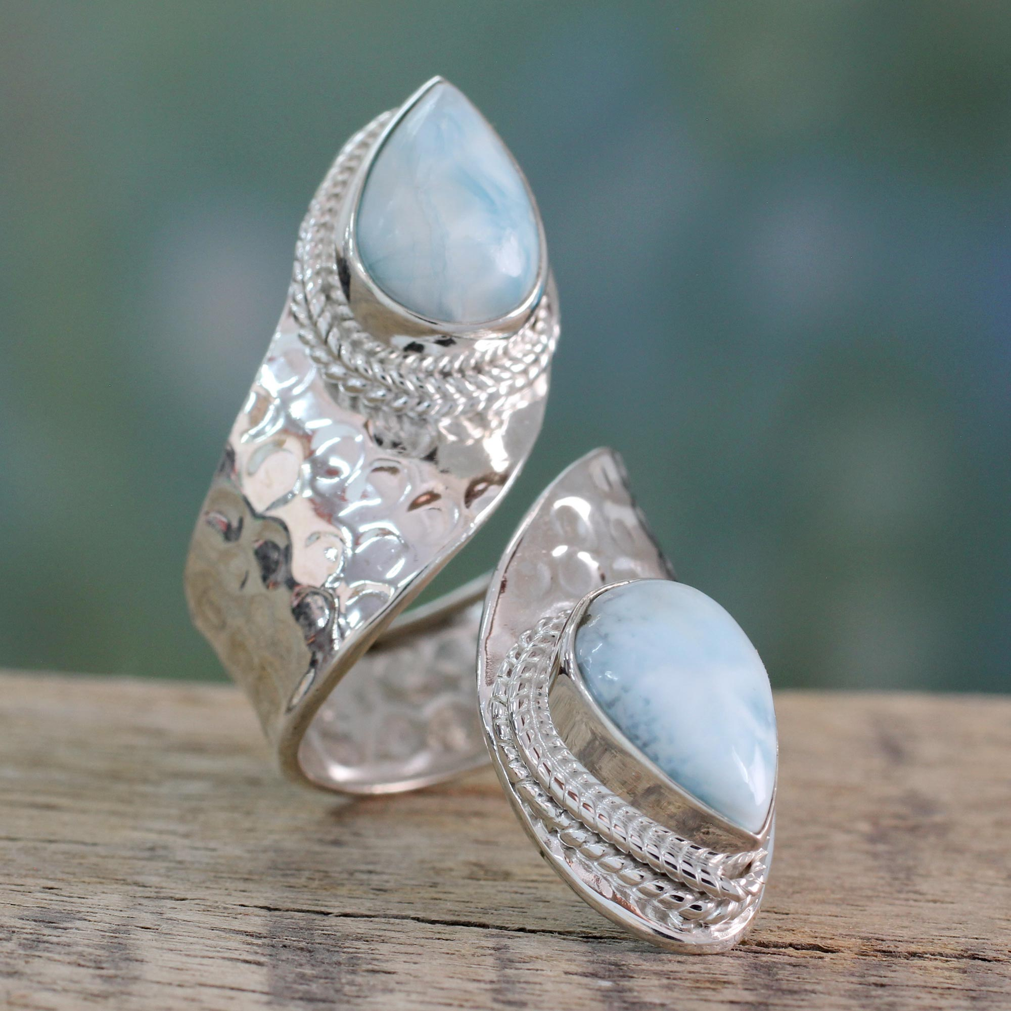 Wrap Style Ring in Sterling Silver with Larimar Gems, 'Dreamy Duo silver jewelry, mom, unique mother's day gifts