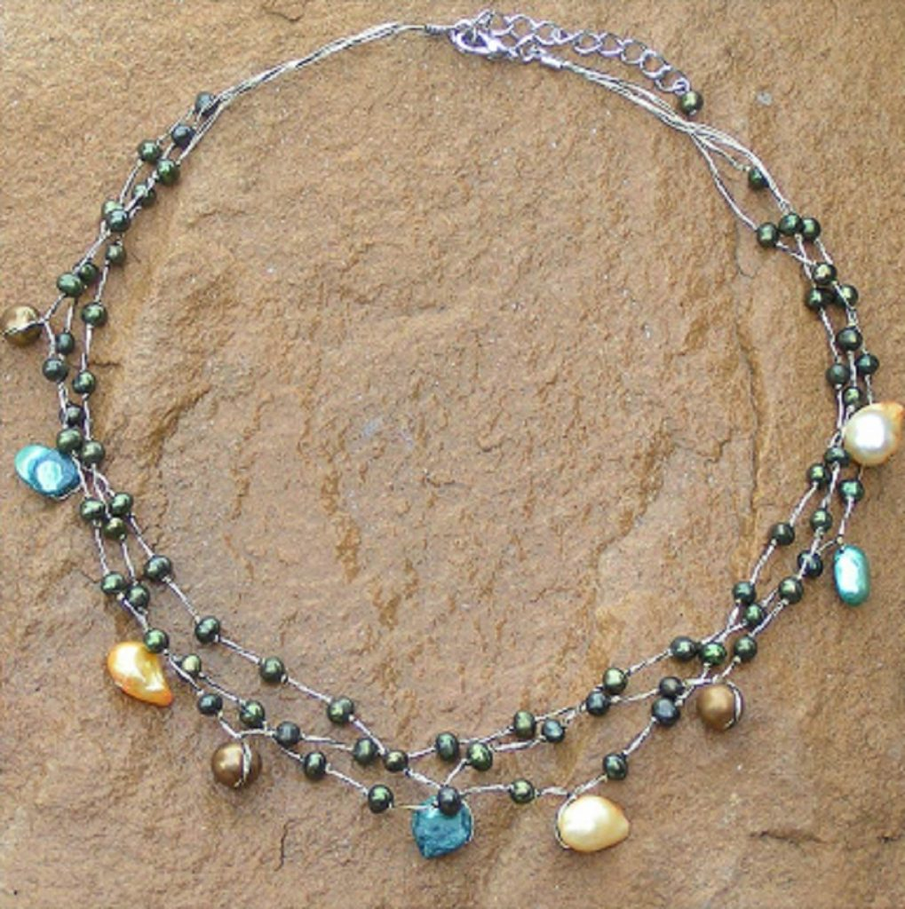 Beaded Pearl Necklace, 'Summer Glow' Silk threads hand-knotted stainless steel clasp How to wear choker necklaces
