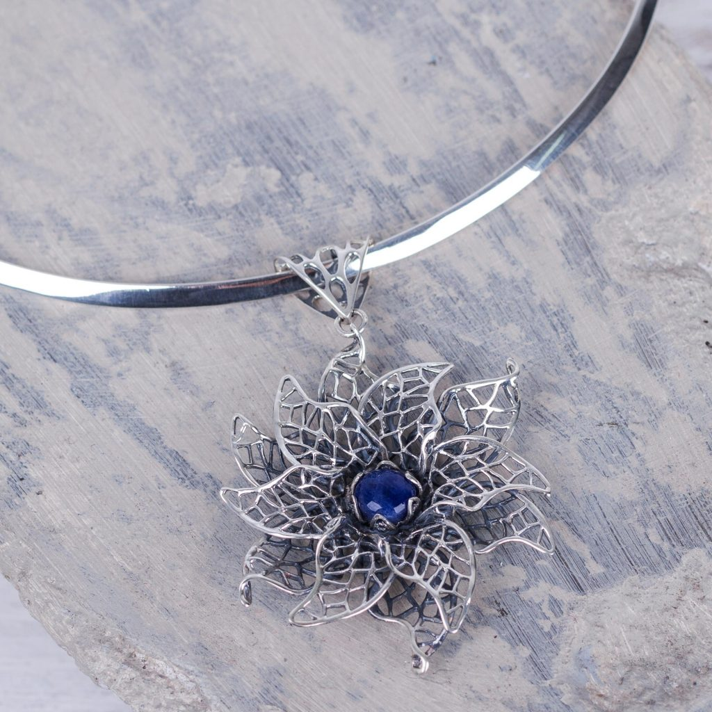 Sodalite Floral Choker Necklace in Andean Sterling Silver, 'Blue Lace Jasmine'
