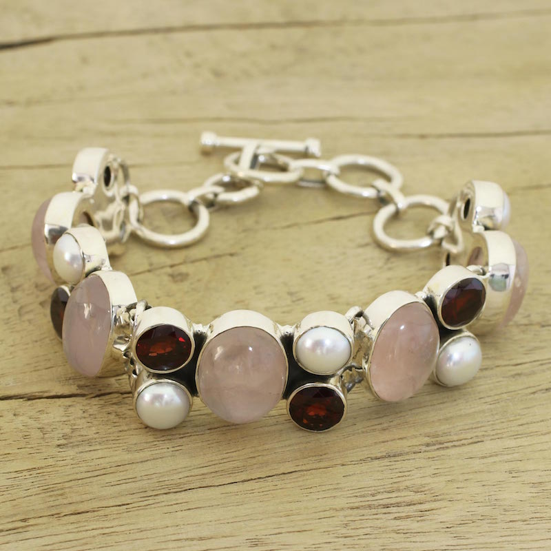 Pearl and rose quartz charm bracelet A Spell of Romance sterling silver chain garnets pearls