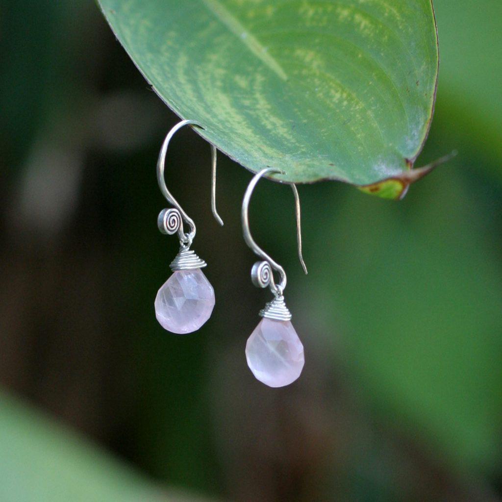 Rose Quartz and sterling dangle hook Silver Earrings, 'Subtle' rose quartz jewelry