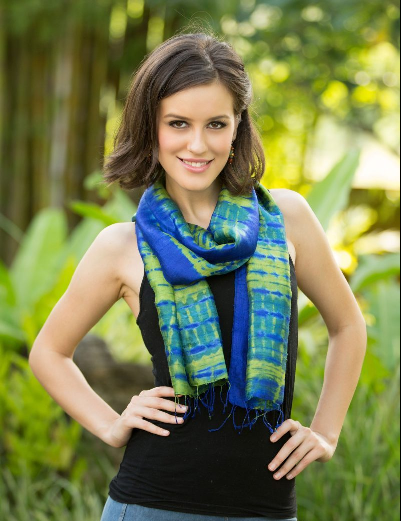 Unique Mother's Day GIfts Handcrafted Tie Dyed Silk Scarf, 'Thai Meadow' Blue Green