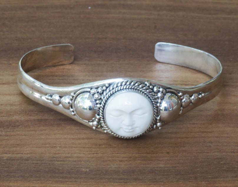 Sterling Silver and Cow Bone Cuff Bracelet Moon Goddess Unique Mother's Day gifts