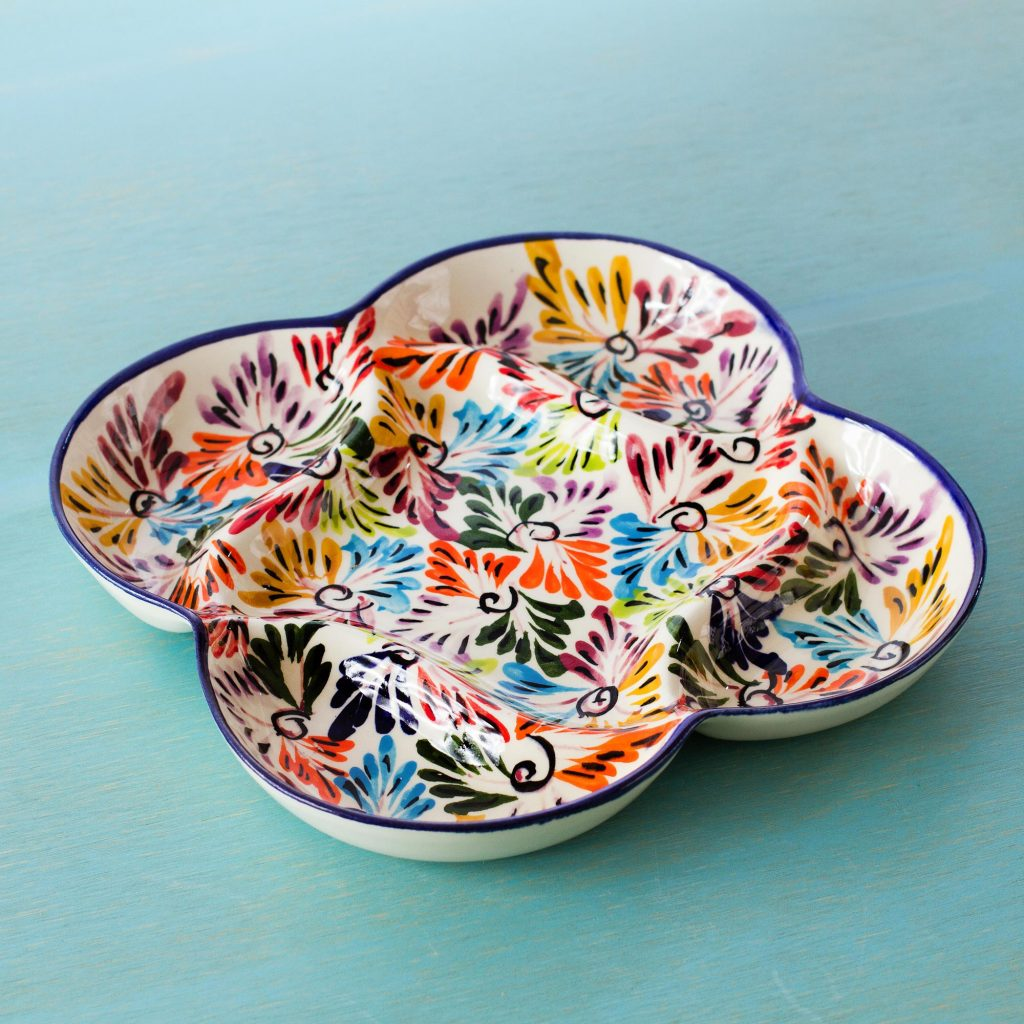 Cinco de Mayo decoration Mexican Ceramic Snack Dish with Hand Painted Floral Motifs, 'Dance of Colors'