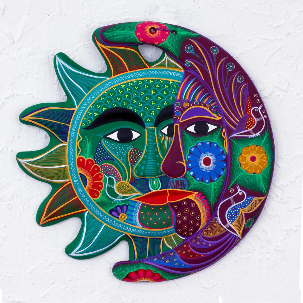 Handcrafted Mexican Sun and Moon Ceramic Plaque, 'Emerald Floral Eclipse' Cinco de Mayo