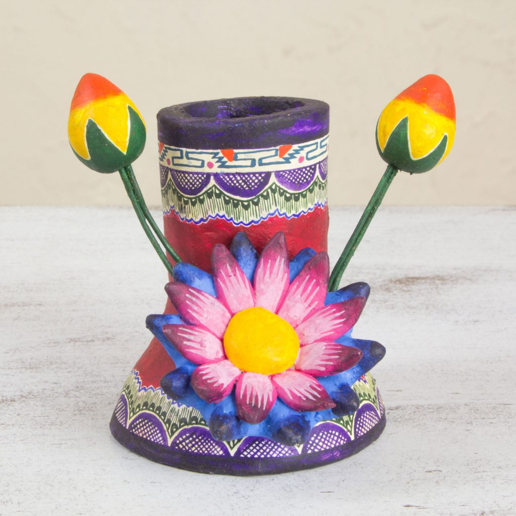 Floral Ceramic Purple and Bright Candle Holder, 'Flower of Life' Cinco de Mayo