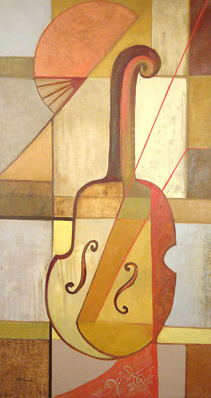 Cubist Painting, 'The Search for Music' original fine art Acrylic on canvas stretched