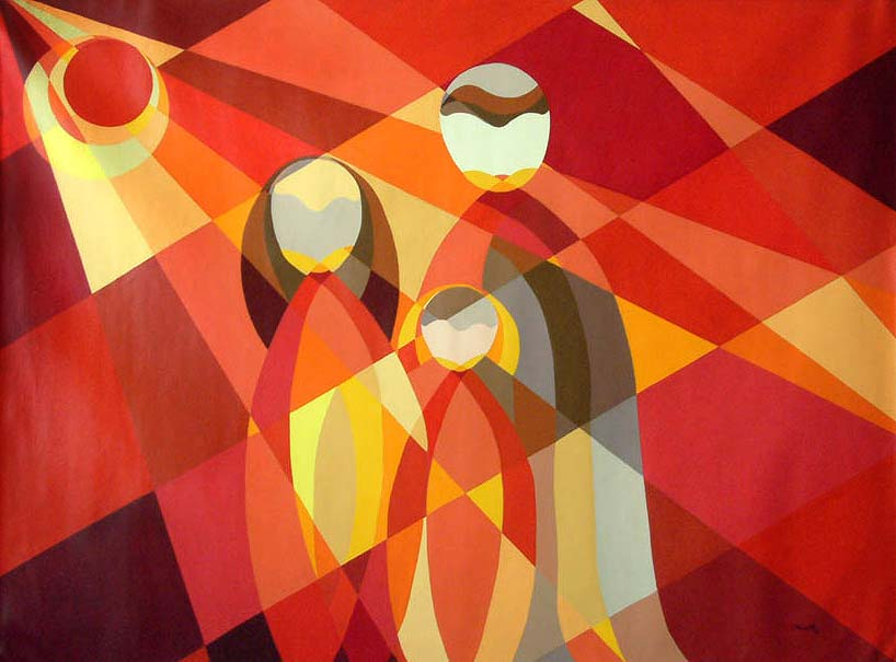 """Cubist Painting """"Andrean Family at Dawn"""" Original Fine Art Acrylic on canvas"""