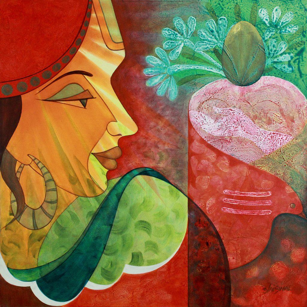 Modern Hindu Painting of Shiva, 'Shiva, the Giver' original fine art Acrylic on canvas Cubist cubism