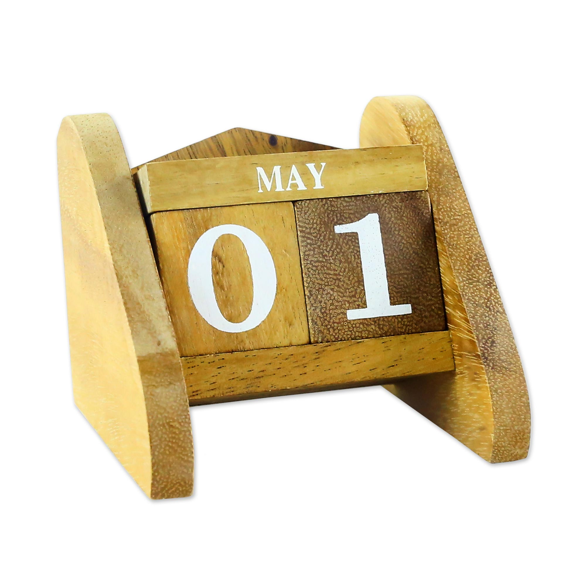 Hand Made Wood Decorative Desk Calendar from Thailand, Time Catcher, home decor unique mother's day gifts