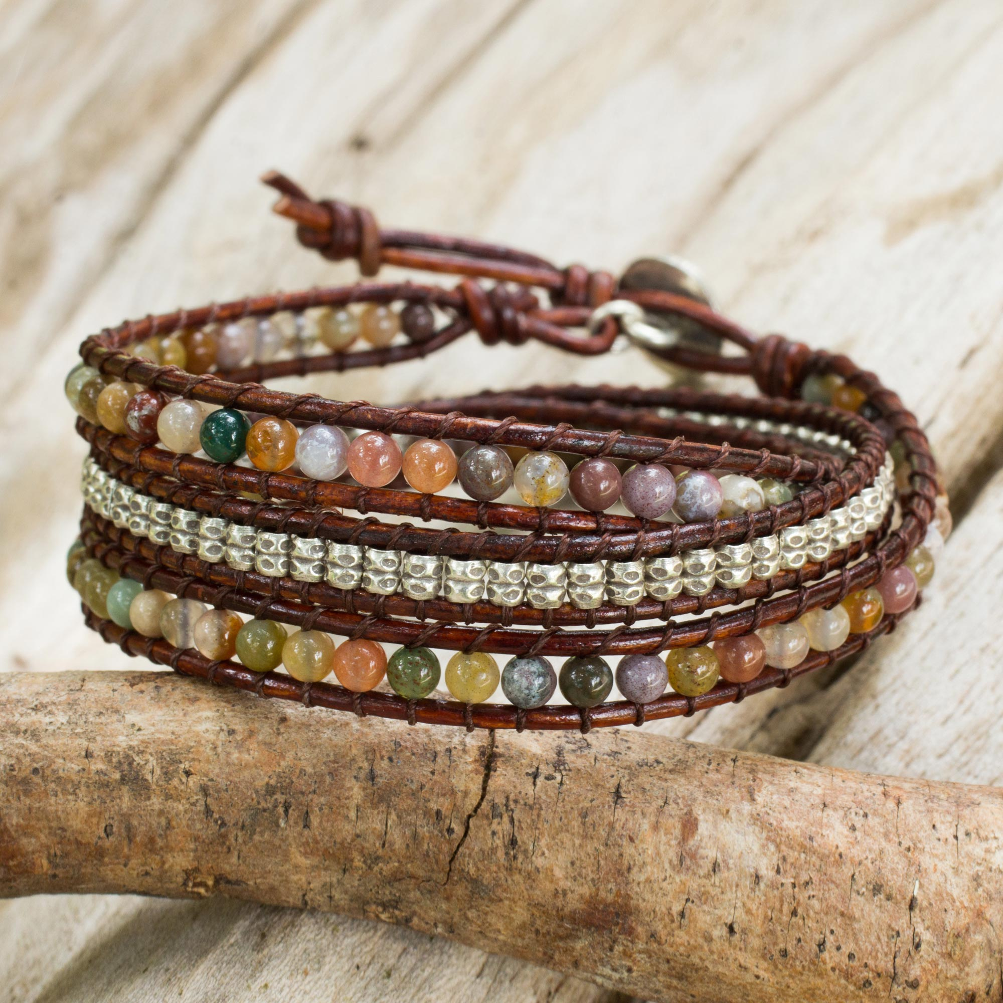 Jasper and 950 Silver Wrap Style Bracelet from Thailand, Colorful Enigma, sterling silver charm leather unique mother's day gifts
