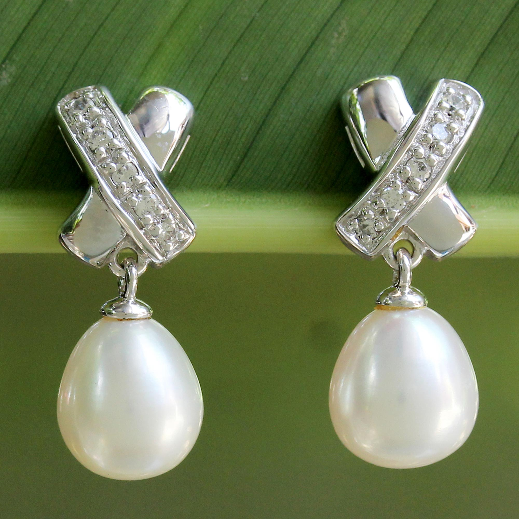 Pearl dangle earrings, 'Cross My Heart' sterling silver posts wedding day jewelry