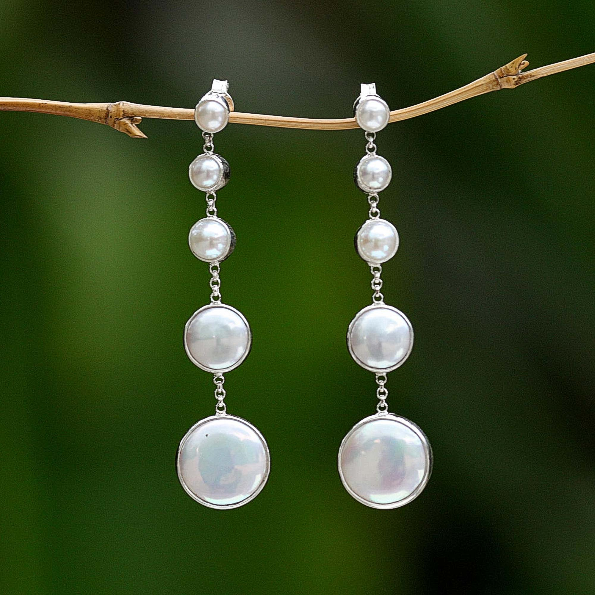Pearl dangle earrings, 'Moon Phases's sterling silver posts edding day jewelry