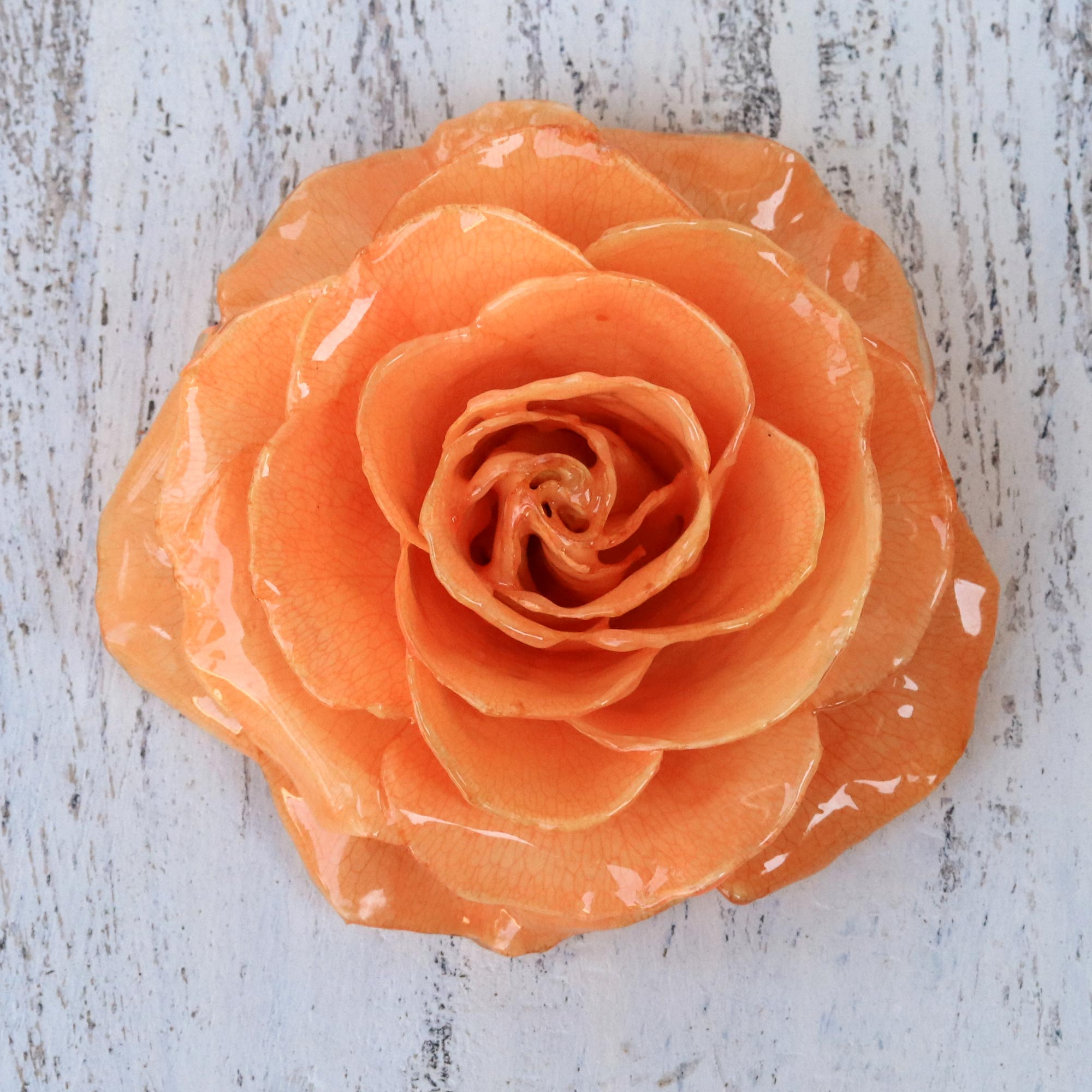Artisan Crafted Natural Rose Brooch in Peach from Thailand, 'Rosy Mood in Peach' wedding day jewelry