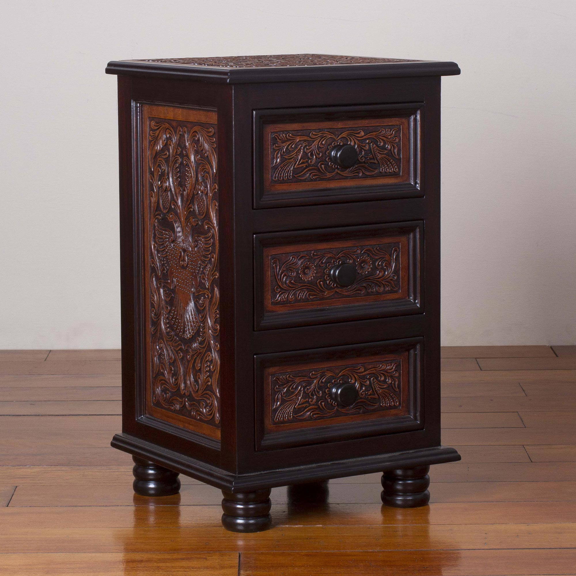 Avian Kingdom Leather and Wood Accent Table with Drawers from Peru animal themed