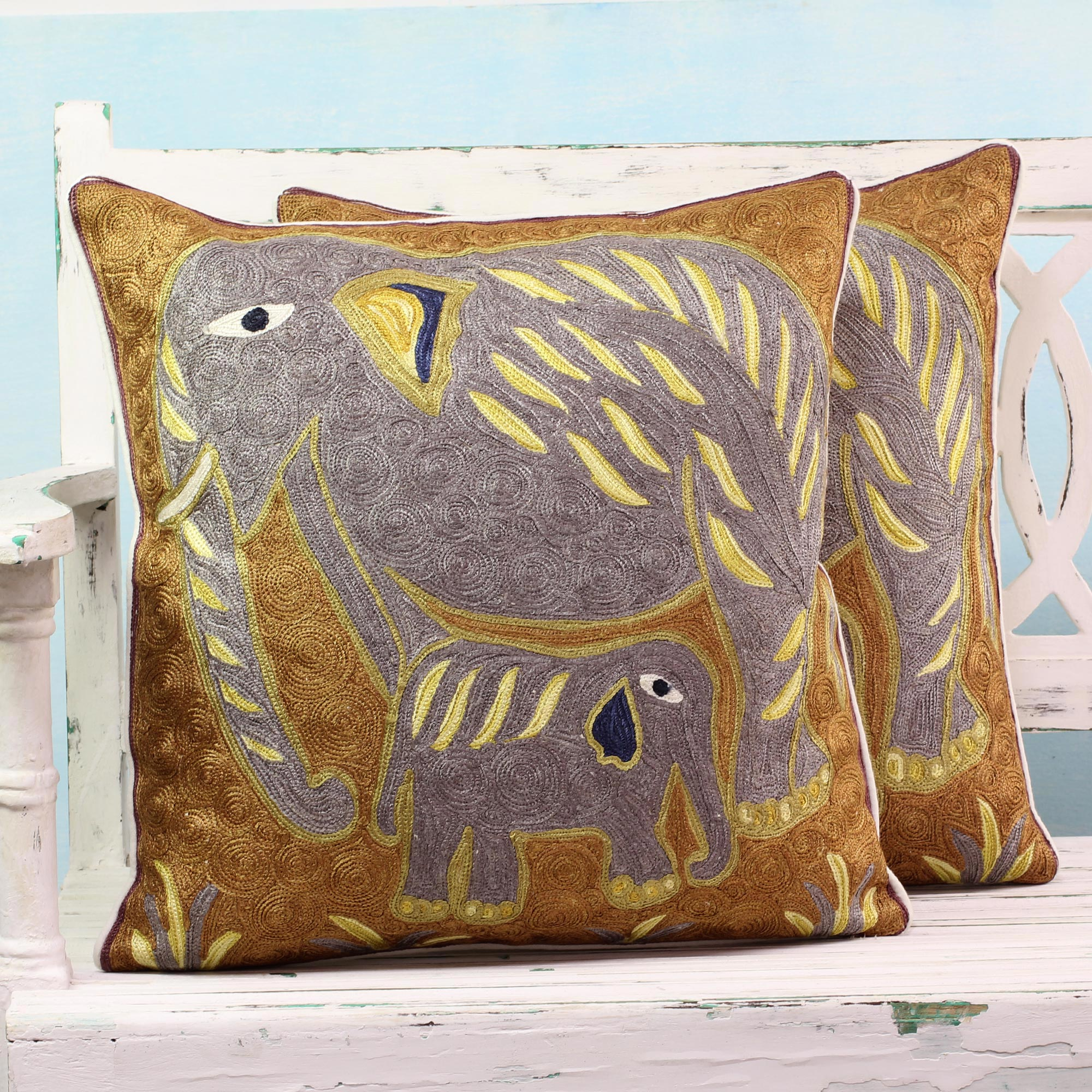 Cotton cushion covers Grey Indian Elephants pair animal themed