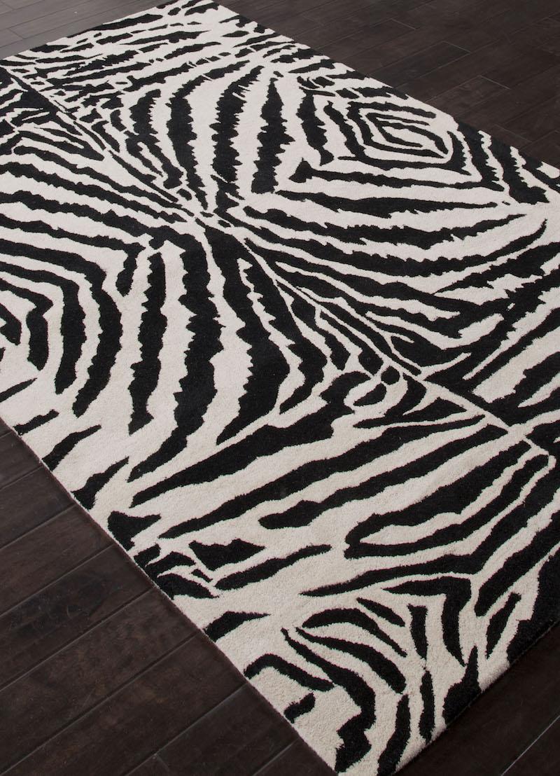 Zebra Modern Animal Print Black:Ivory Wool Area Rug animal themed home