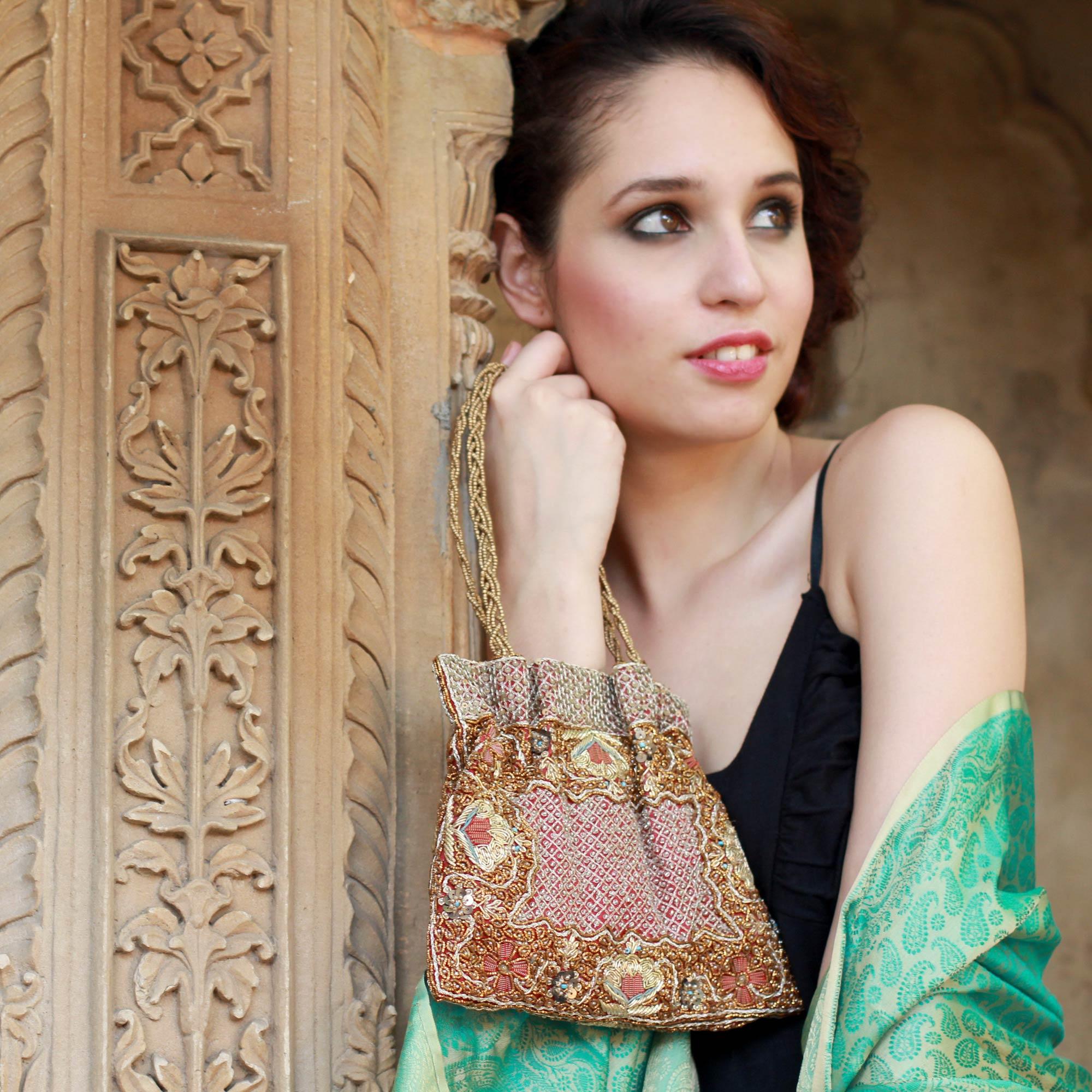 Beaded evening bag, 'Mughal Treasure' NOVICA zardozi embroidery and lavish beadwork handbag