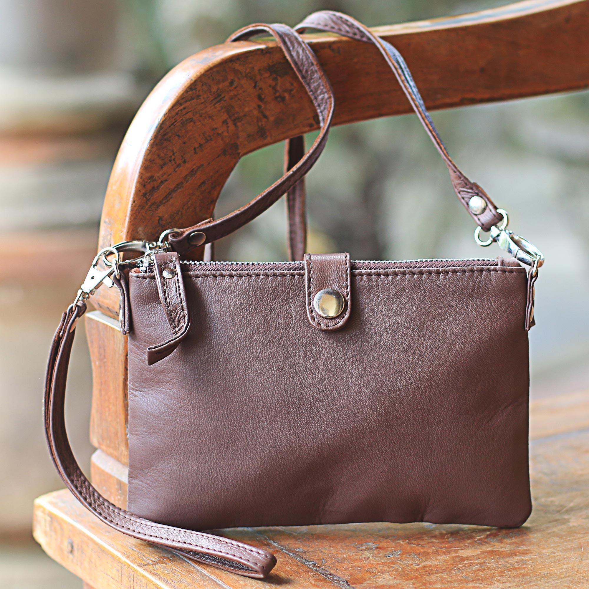 Leather wristlet or shoulder bag, 'Versatile Chic' clutch handbag Brown