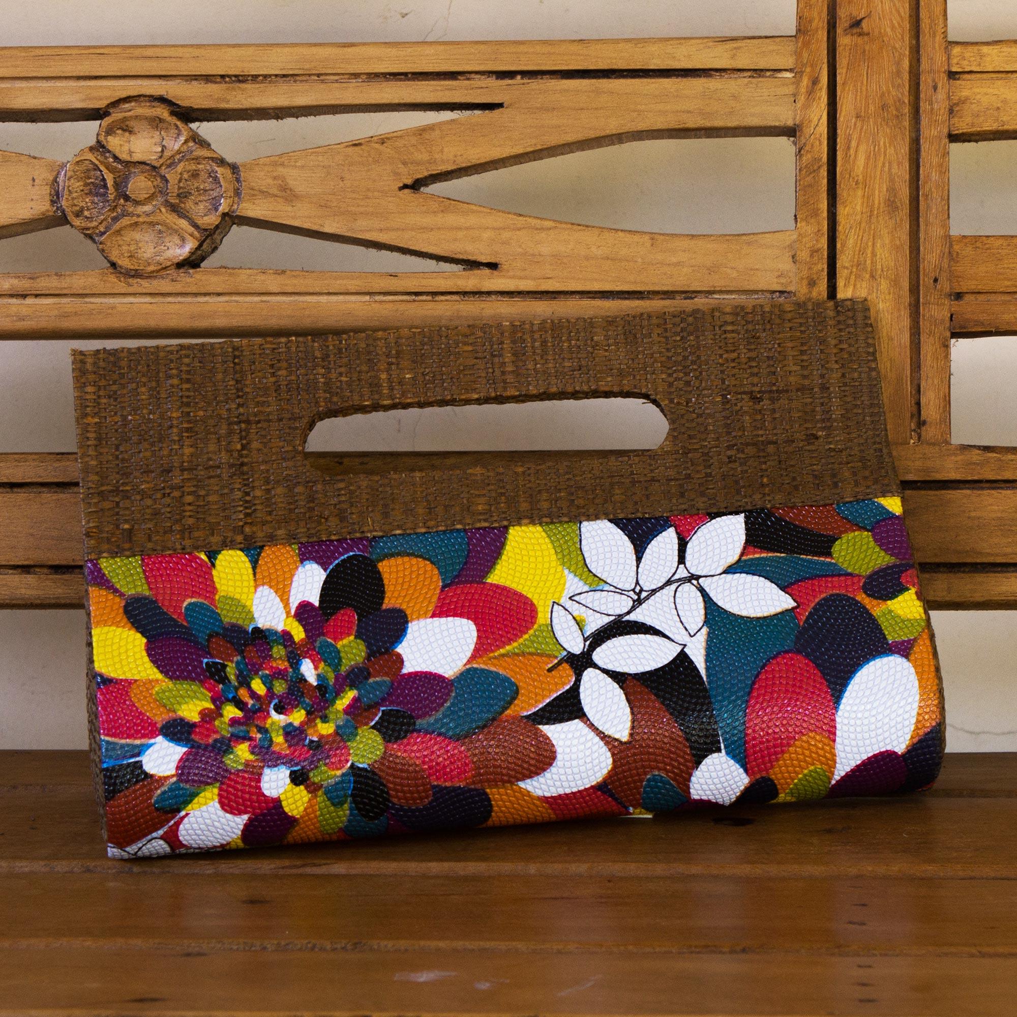 Palm leaf handbag, 'Psychedelic Jungle' Psychedelic Jungle Colorful Handcrafted Palm Leaf Handbag from Brazil