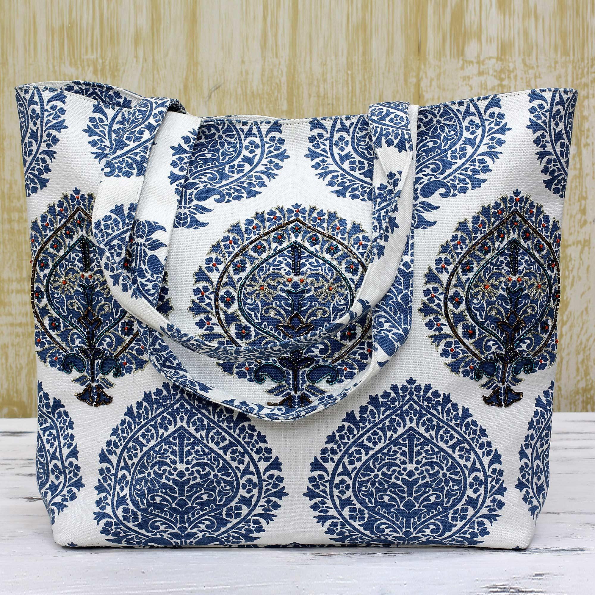 Grandiose Azure Zari Embroidered Cotton Tote Handbag from India blue eggshell white