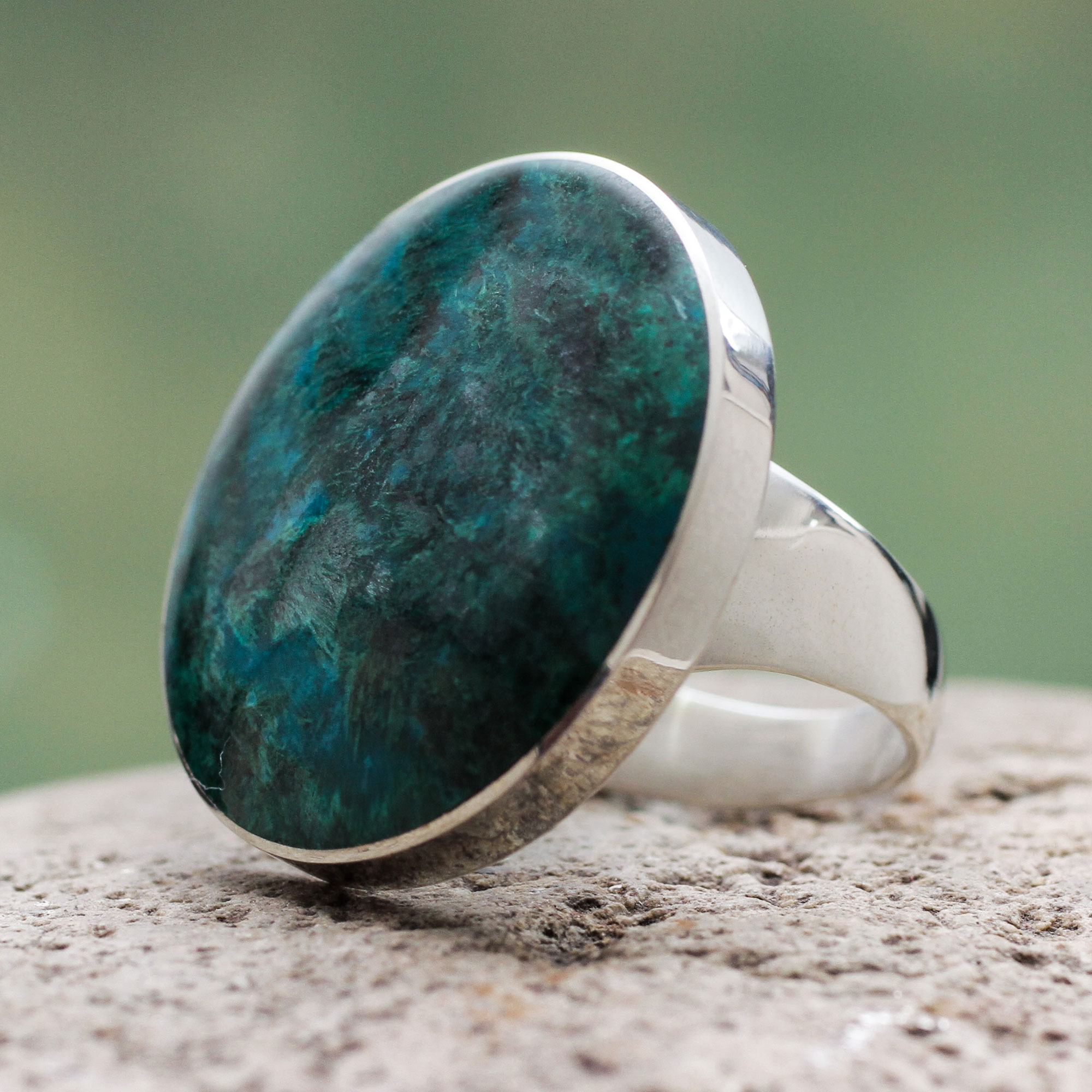 Universe Chrysocolla and Sterling Silver Ring Peru jewelry turns skin green