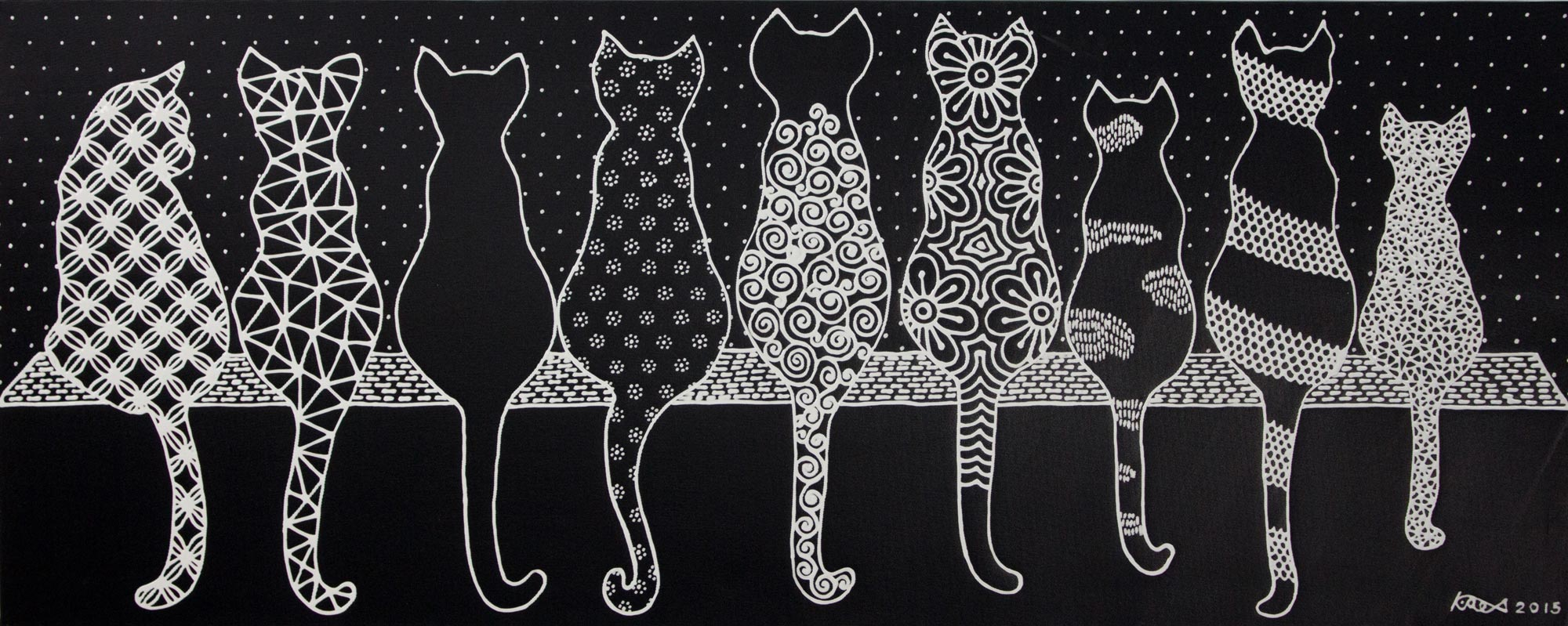 Cat Family Black and White Acrylic Painting of Cats on a Ledge animal themed