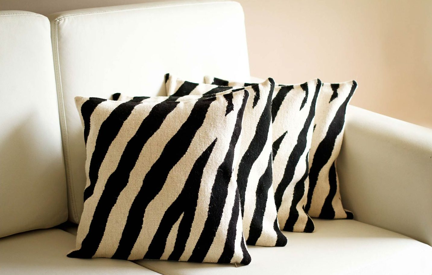 Wool cushion covers, 'Zebra' (set of 4) animal themed
