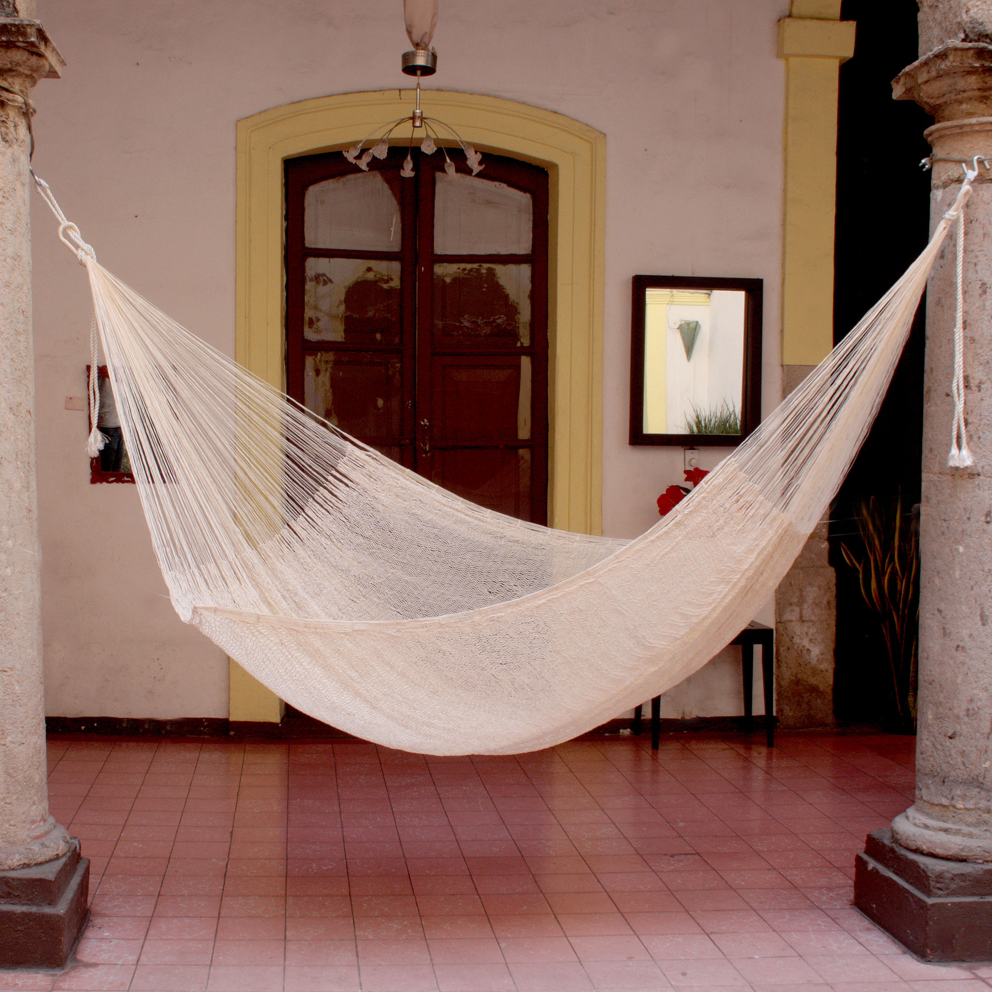 Cotton hammock, 'Natural Comfort' (double) handcrafted hammock new mother gift