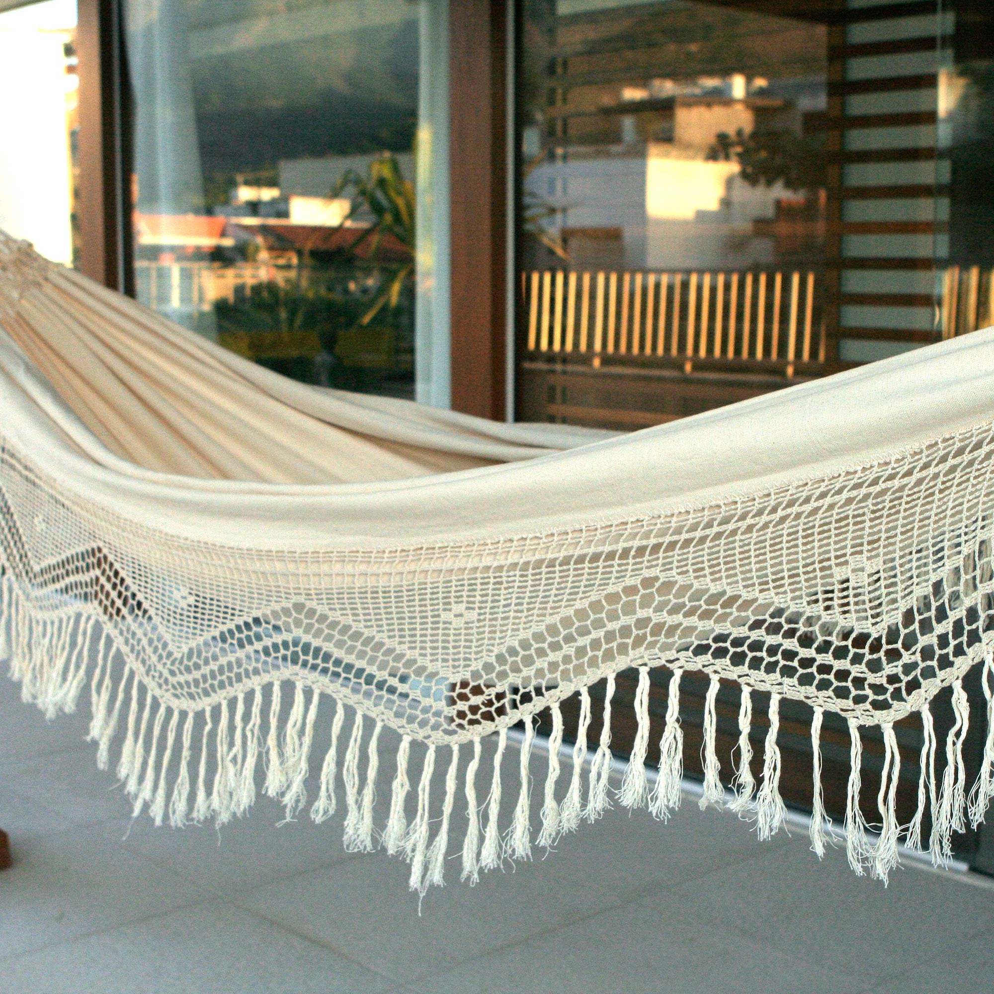 Cotton hammock, 'Manaus Majesty' (double) handcrafted hammock new mother gift