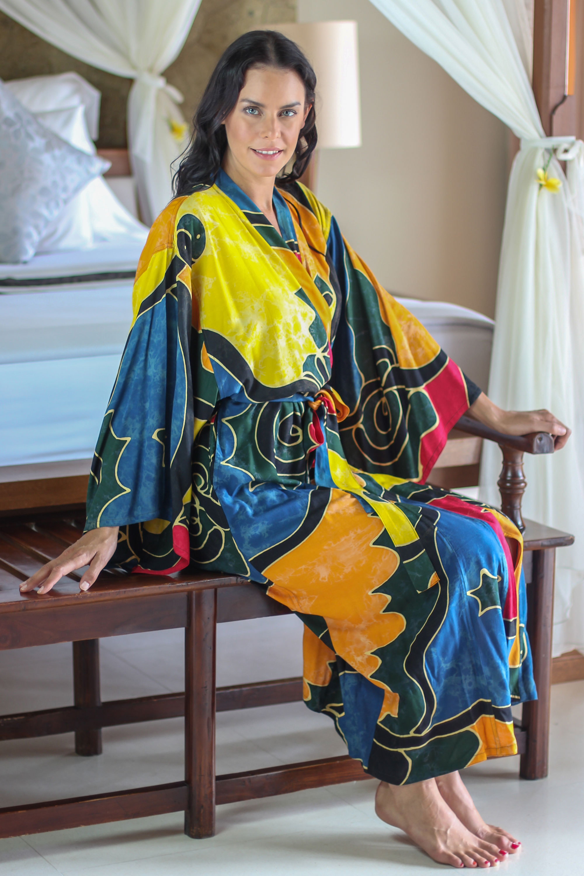 Women's batik robe, 'Paradise Peacock' new mother gift