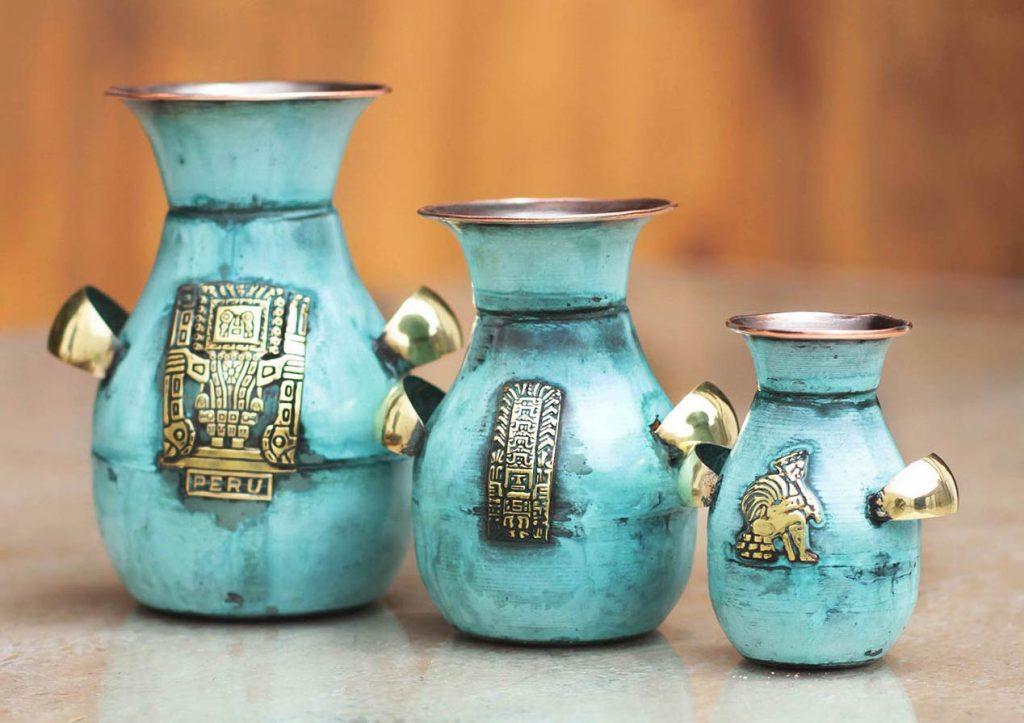 Unique Archaeological Copper and bronze vases 'Inca Inheritance' Set of three Inca Empire Inca inspired Decor