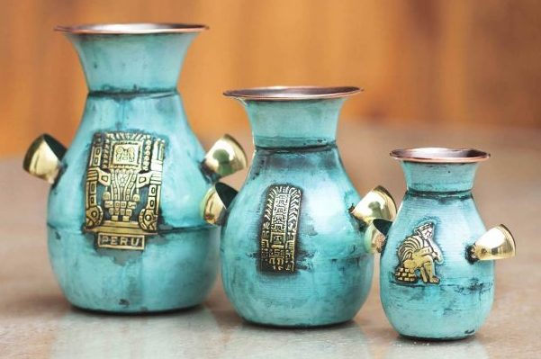 Copper and bronze vases 'Inca Inheritance' Set