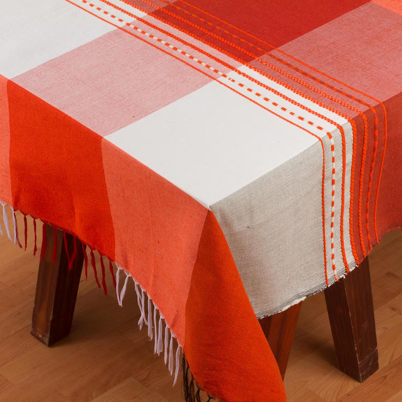 Fire of the Earth Woven Cotton Blend Plaid Tablecloth from Mexico Fourth of July